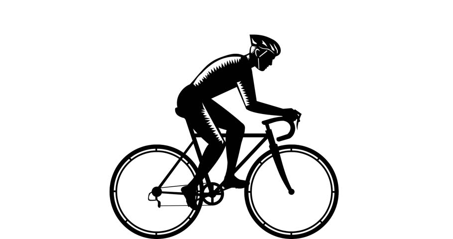 2d Animation motion graphics showing illustration of cyclist wearing helmet riding bicycle racing cycling biking viewed from sideset on green screen, white screen and with alpha matte in 4k .