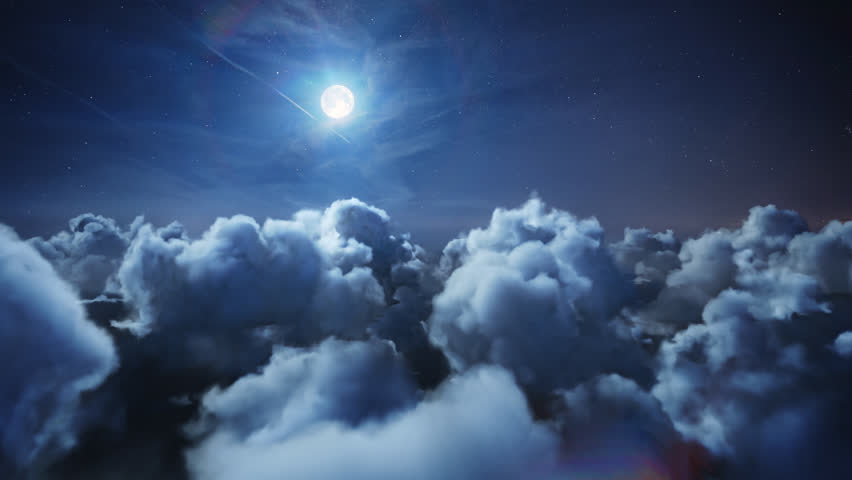 Flying over the deep night timelapse clouds with moon light. Seamlessly looped animation. Flight through moving cloudscape with beautiful moon. Perfect for cinema, background, digital composition.   Shutterstock HD Video #25406705