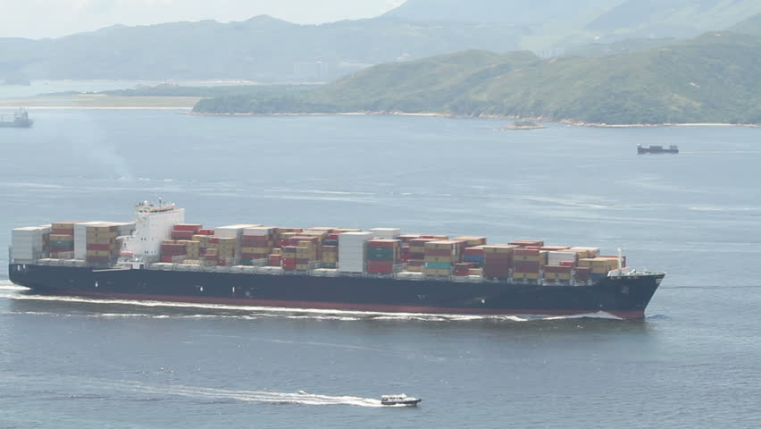 Container ship entering Hong Kong harbor.