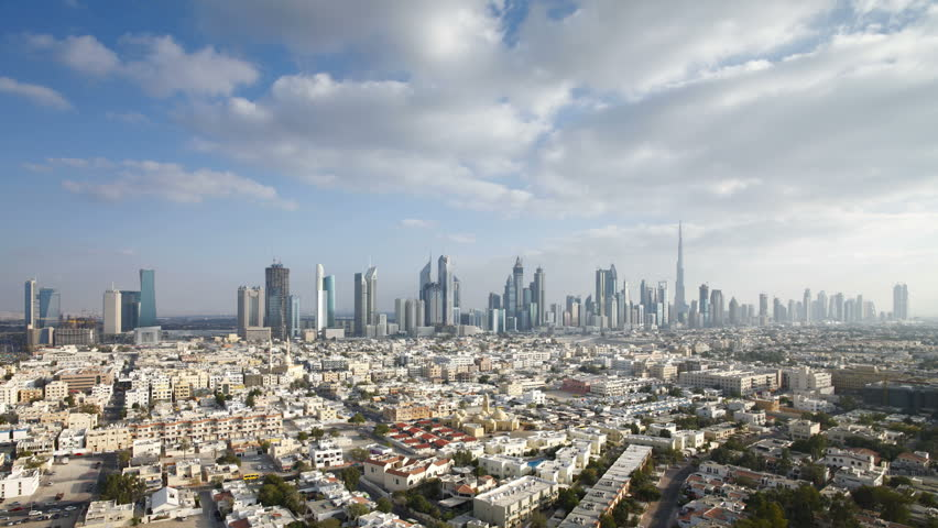 Dubai skyline of modern architecture and...