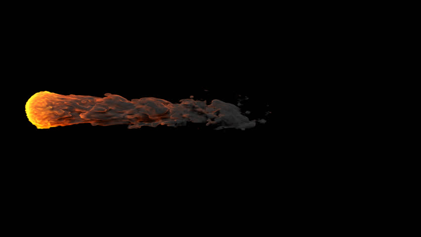 Fireball with alpha channel, animated footage visual effects  Meteorite falling Flying fireball Meteor