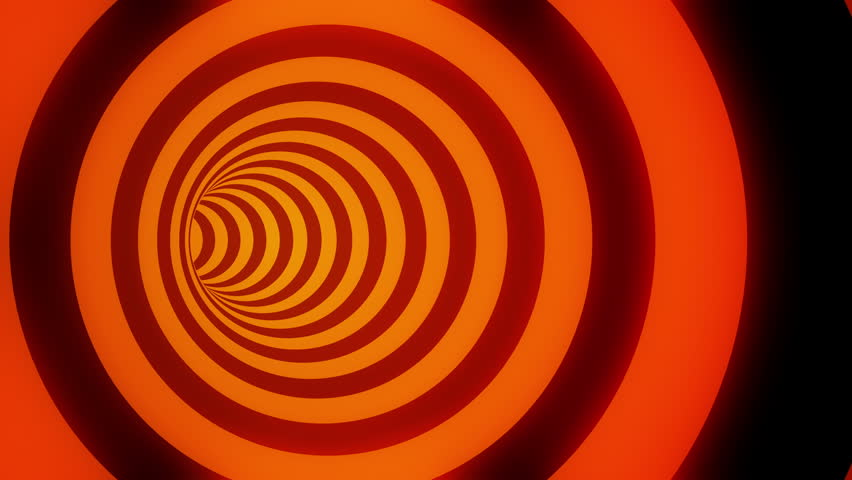 Animated hypnotic tunnel with black and glowing orange stripes. Seamless loop. 4K, UHD, Ultra HD resolution.