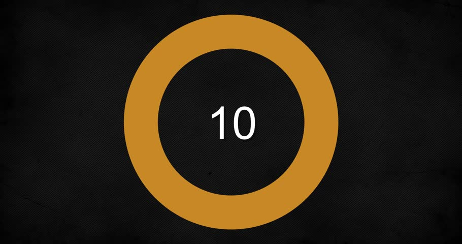 Wiping ON/OFF Countdow. Simple countdown with a circle wiping clockwise ON and OFF from 10 to 1. Includes alpha channel for transparency over custom backgrounds.