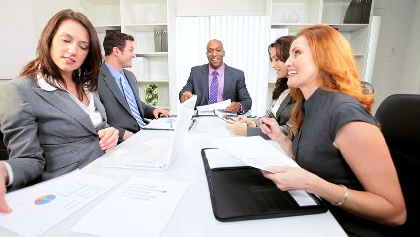 Female Caucasian Advertising Executive Boardroom Meeting Multi ...