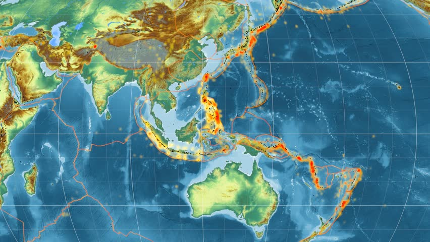 Sunda tectonic plate featured & animated against the global relief map in the Mollweide projection. Tectonic plates borders (Peter Bird's division), earthquakes, volcanoes | Shutterstock HD Video #26133065