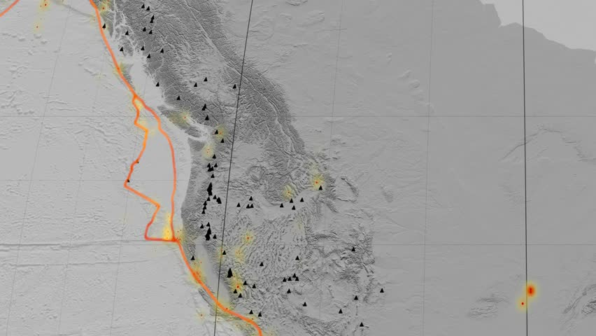 Juan De Fuca tectonic plate featured & animated against the global elevation grayscale map in the Kavrayskiy VII projection. Tectonic plates borders (Peter Bird's division), earthquakes, volcanoes | Shutterstock HD Video #26134001