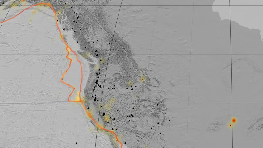 Juan De Fuca tectonic plate featured & animated against the global elevation grayscale map in the Mollweide projection. Tectonic plates borders (Peter Bird's division), earthquakes, volcanoes | Shutterstock HD Video #26134052