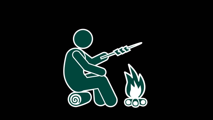 Stick Figure Near A Fire with Alpha channel. Cartoon Outdoor