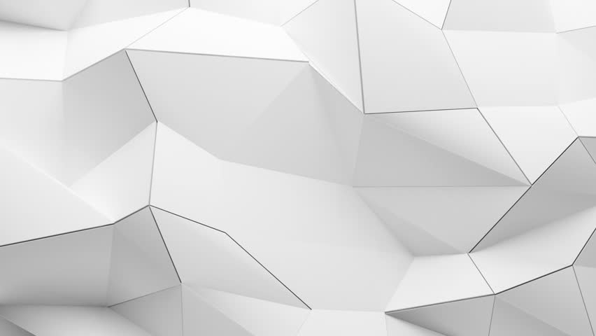 Abstract wall of planes moving in organic way. The movement is perfectly looped. Low poly seamless background. White polygon background.  | Shutterstock HD Video #2628533