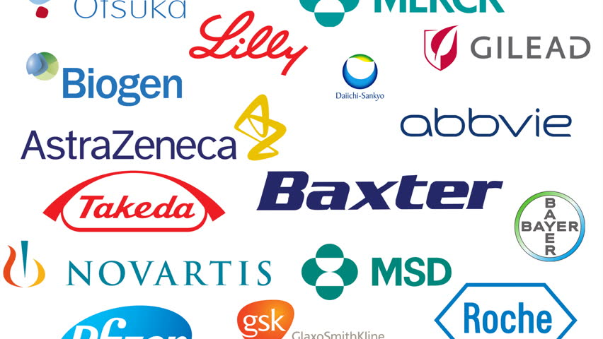 Editorial animation: major pharmaceutical companies in 2017. Editorial use only. 3D rendering, bottom to top variant, 4k UHD.