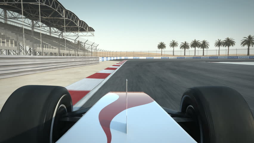F1 race car on desert circuit - driver's POV - high quality 3d animation - visit our portfolio for more