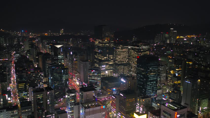Aerial Korea Seoul April 2017 Gangnam Night | Shutterstock HD Video #26554553