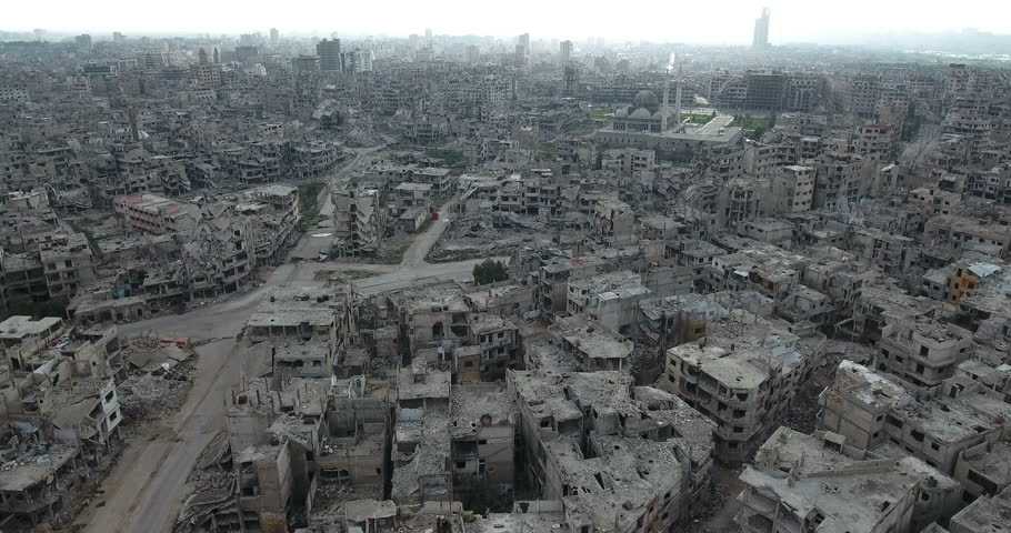A flight of a drone over the city of Homs in Syria