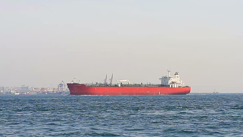 Red tanker ship sails in to Bosporus Sea