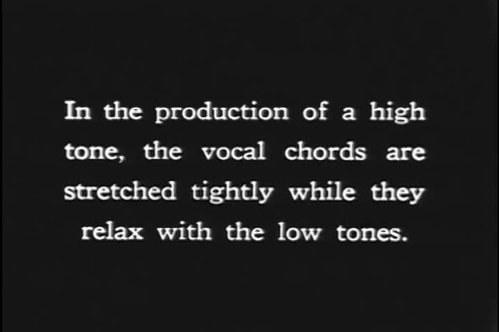1920s: Musical notes correspond with how tightly the vocal chords are stretched in this animated sequence from the 1920s.