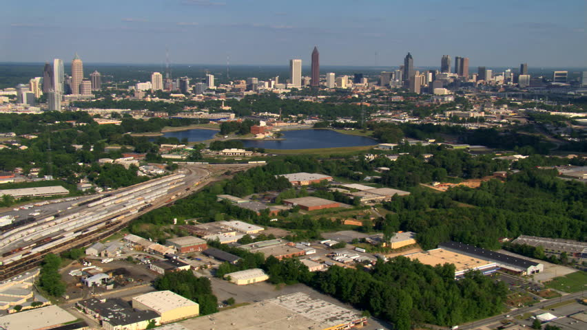Looking down onto industrial area northwest of Atlanta, Georgia. Shot in 2007.
