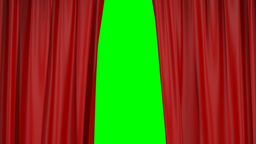 Opening and closing of red curtains on green screen 3d animation
