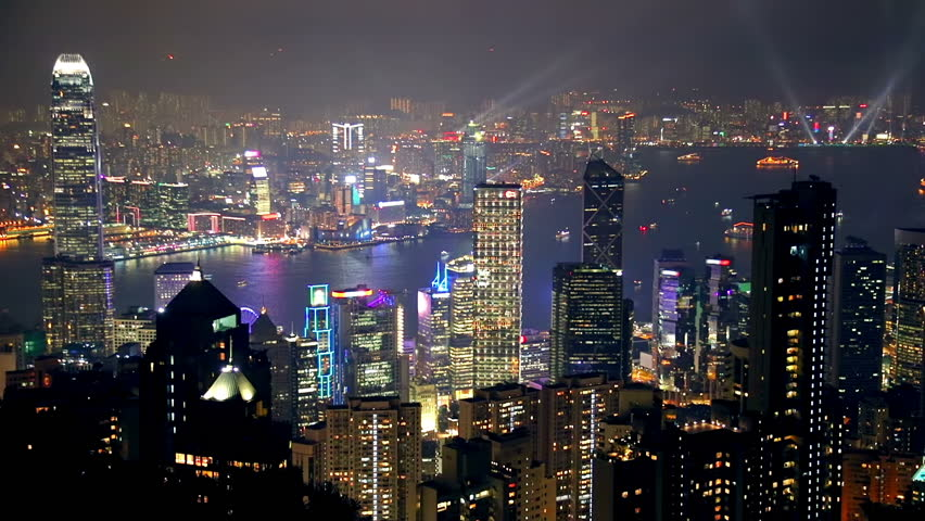China. Night in Hong Kong City from height of...