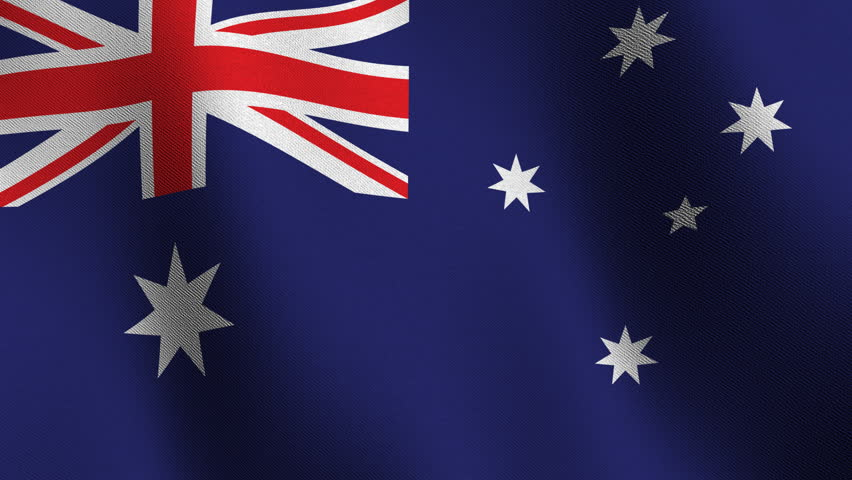Flag of Australia waving in the wind  - very highly detailed fabric texture - seamless looping