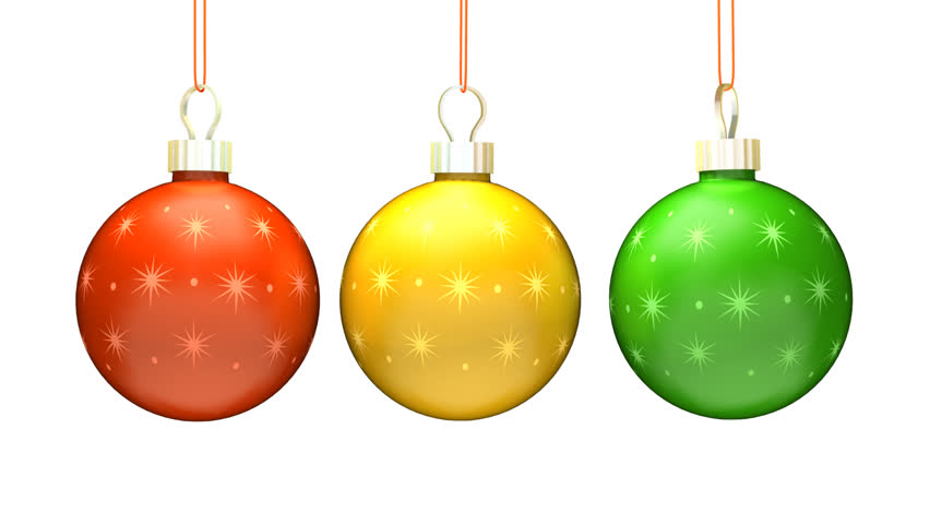 three christmas ornaments loop with alpha matte hd stock footage clip - Animated Christmas Decorations
