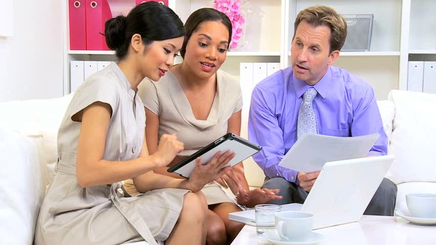 Female Asian Chinese Advertising Executive Meeting Multi Ethnic ...
