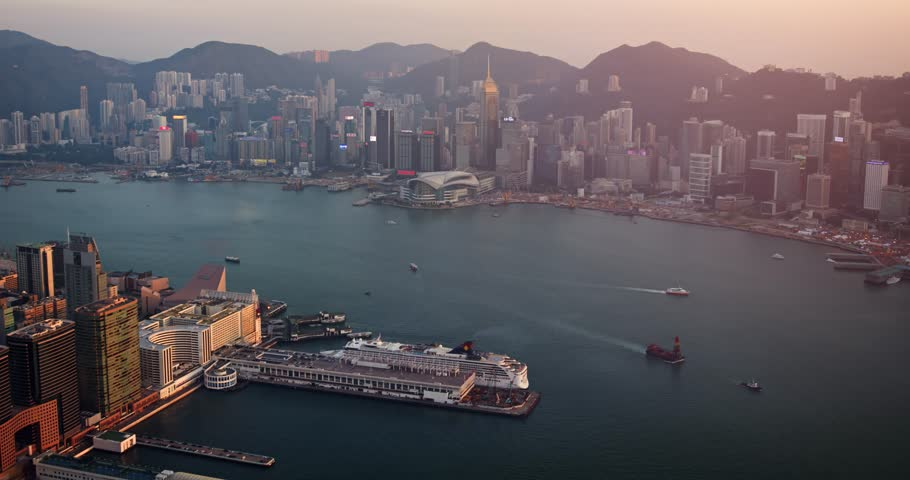 HONG KONG. CHINA - CIRCA JAN 2015: Aerial view over Hong Kong. Busy Harbour and financial district. Hong Kong. China. 4k footage | Shutterstock HD Video #27012682