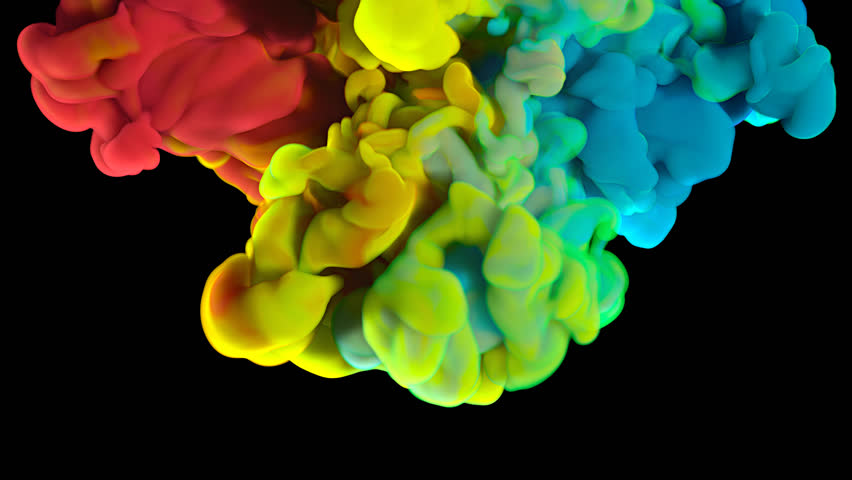 Colorful rainbow paint drops from above mixing in water. Ink swirling underwater. Cloud of silky ink isolated on black background. Colored abstract smoke explosion animation effect. Close up view.