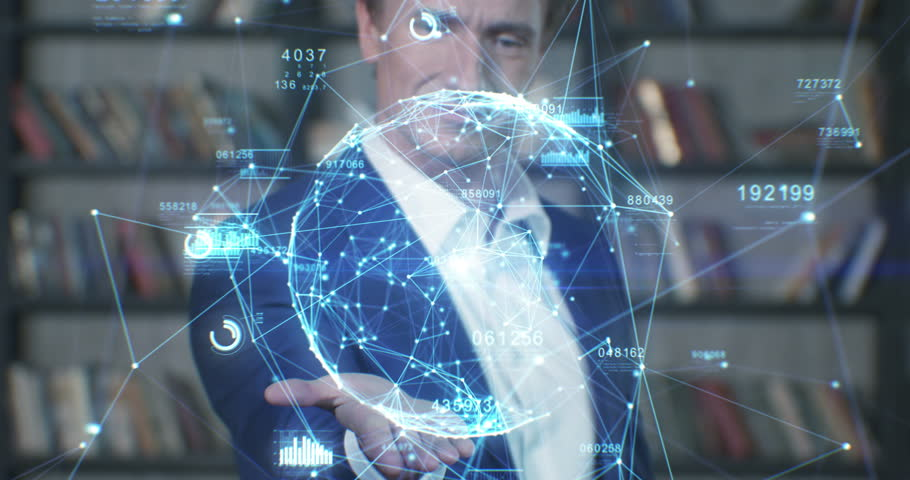 Beautiful Hologram Slow Motion Portrait Successful Businessman Working with Futuristic Technological Blue Hologram Analyzing Data. Business Concept. Businessman Series 4K UHD 4096x2160 3d animation.