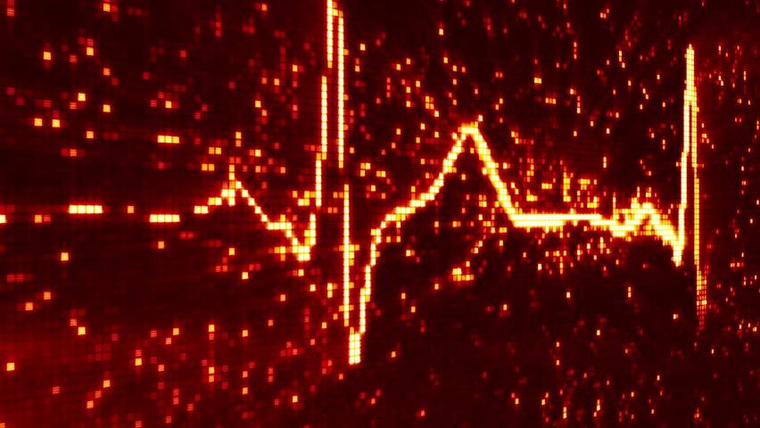 digital pixel EKG electrocardiogram pulse orange. computer generated seamless loop abstract motion background. HD 1080 progressive