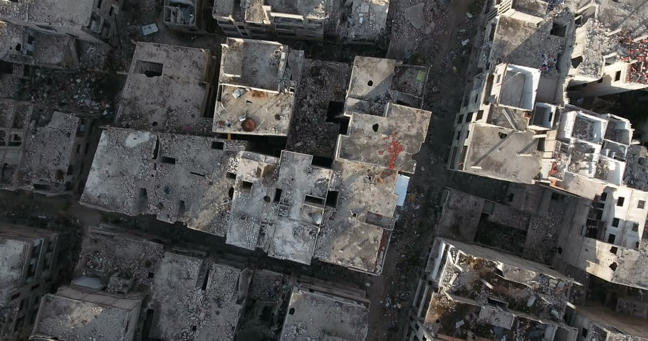 A flight of a drone over the city of Homs in Syria  03/04/2017 - Homs - Syria  #27238453