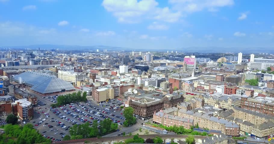 Aerial views of Glasgow in 4K, Scotland, UK.