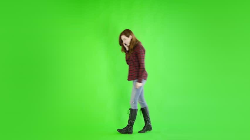 Caucasian woman studio greenscreen isolated sexy skinny 20s 4k casual jeans | Shutterstock HD Video #27264193