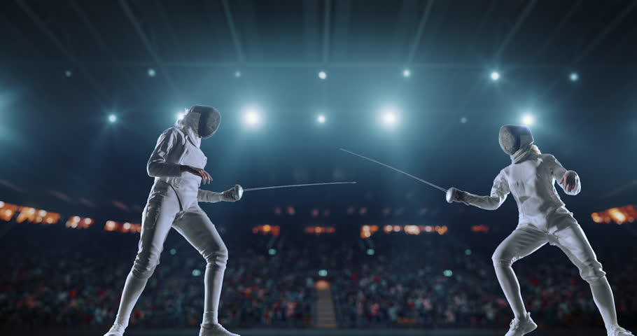 4K video in slow motion of two female fencing athletes. The action takes place on professional sports arena with spectators and lense-flares. Women wear unbranded sports clothes. Arena is made in 3D. | Shutterstock HD Video #27274300