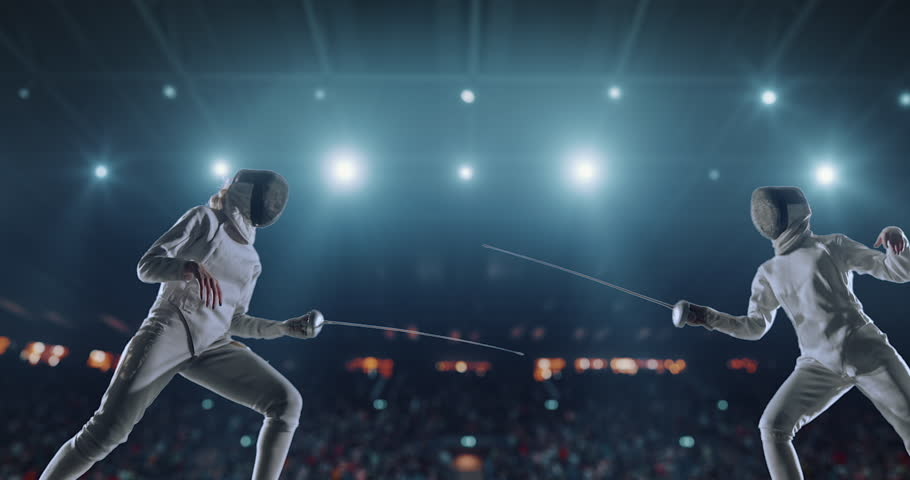 4K video in slow motion of two female fencing athletes. The action takes place on professional sports arena with spectators and lense-flares. Women wear unbranded sports clothes. Arena is made in 3D. | Shutterstock HD Video #27274357