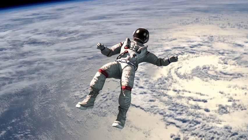 Astronaut Fly Flip Space Earth Animated Background 3D Rendering Animation