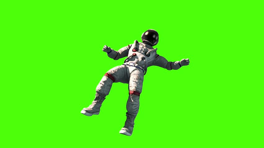 Astronaut Fly Flip Space Earth Green Screen 3D Rendering Animation