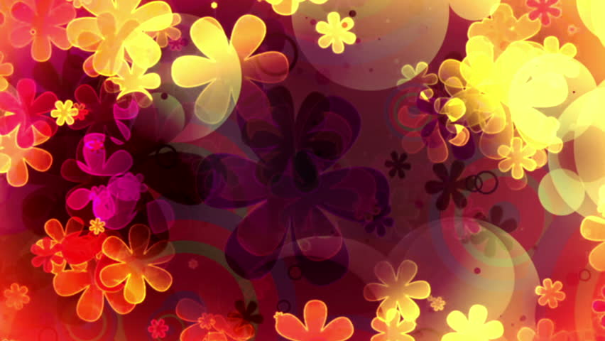 Retro flowers and shapes animated looping CG abstract animated background