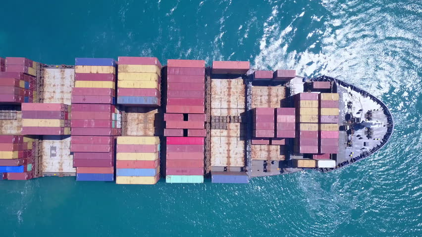 Large container ship at sea - Top down Aerial footage | Shutterstock HD Video #27444334