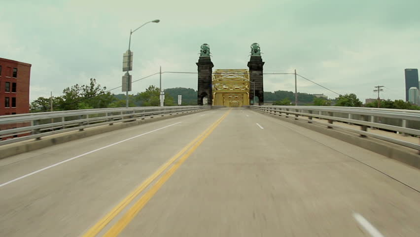 Driving on the 16th Street Bridge over the Allegheny River in Pittsburgh,