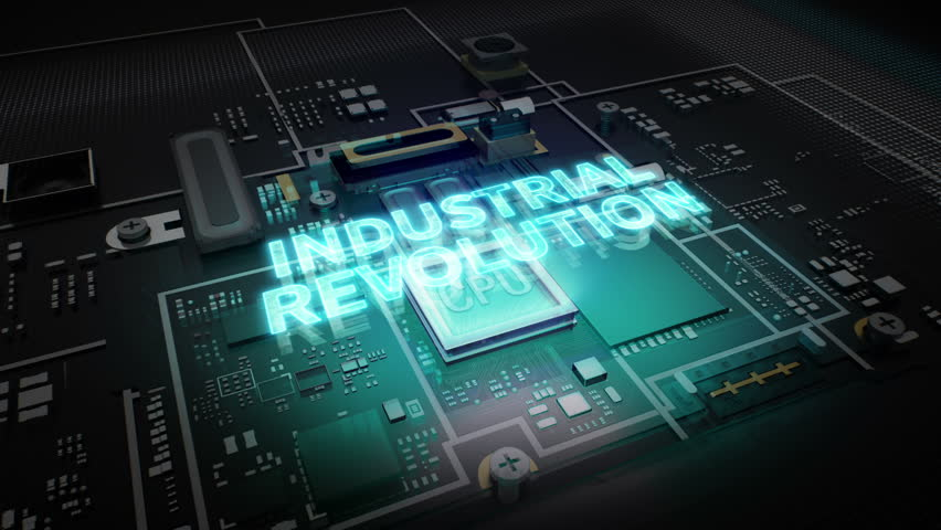 Hologram typo 'Industrial Revolution' on CPU chip circuit, grow artificial intelligence technology.   Shutterstock HD Video #27545908