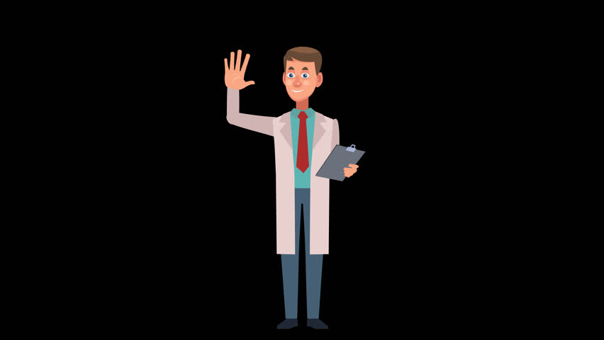 Cartoon Male Doctor Character Pack 1. Set of 8 animations. Medicine and health care 2d animation. Animated gestures with Alpha Channel