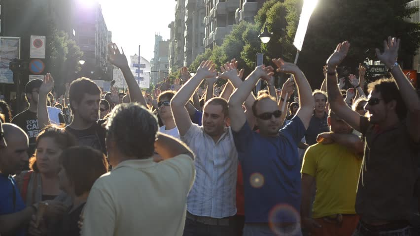 LEON, SPAIN - CIRCA 2011: People take a part in a demonstration in solidarity