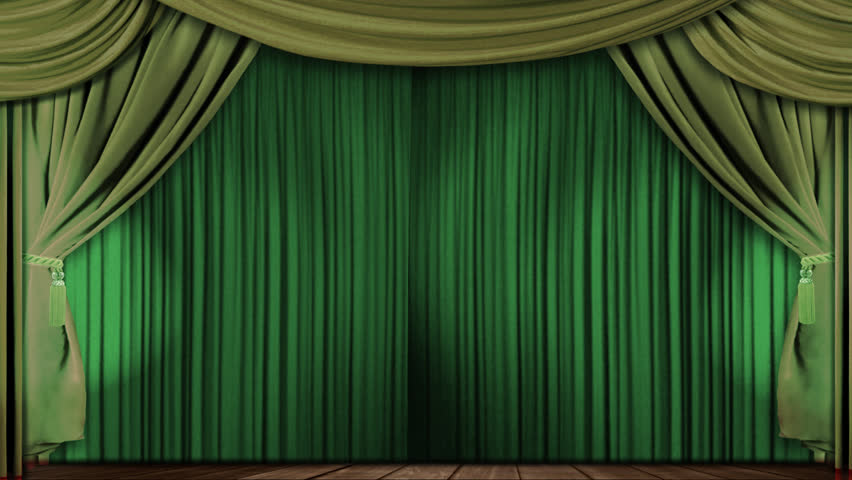 Green Curtains black green curtains : Green Stage Curtain On Black Background. Loop Able 3D Render ...