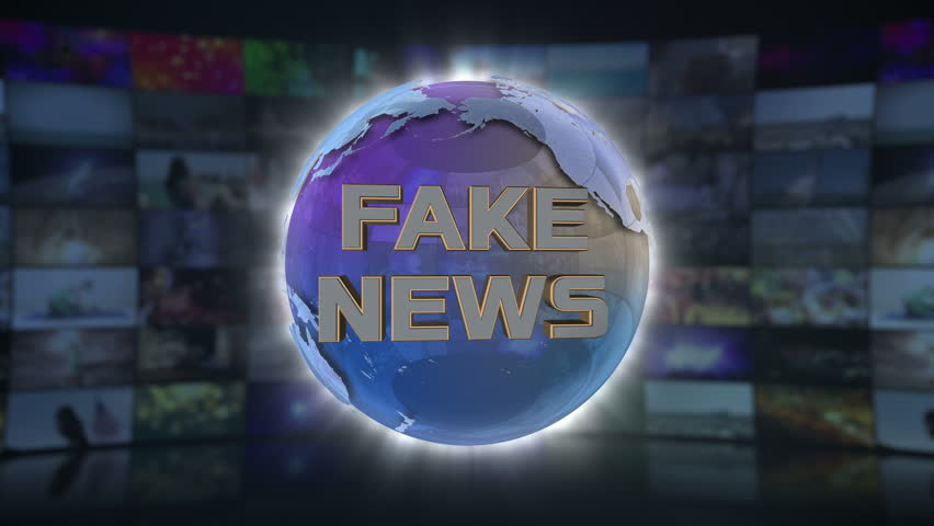 Fake News On Screen 3D Animated Text Graphics News Broadcast Graphic Title Animation Seamless Looping Motion Background Video Backdrop Blue Cyan