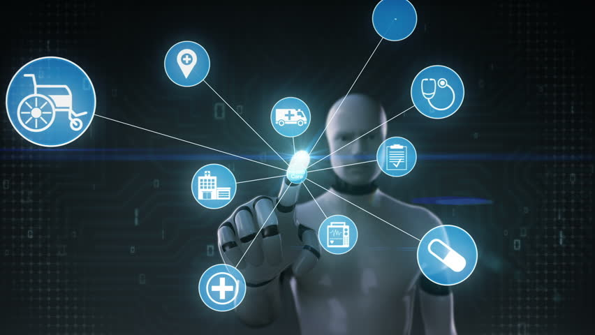 Robot, cyborg touching screen, Various Health care technology icon connect global world map, dots makes world map. internet of things. | Shutterstock HD Video #27780625