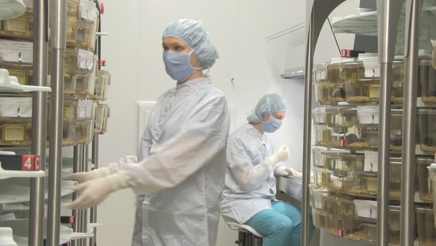 two women work in biology scientific center