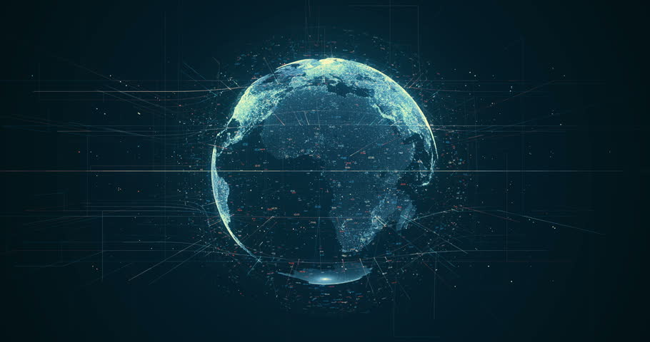 Digital data globe - abstract 3D rendering of a scientific technology data network surrounding planet earth conveying connectivity, complexity and data flood of modern digital age | Shutterstock Video #27873328