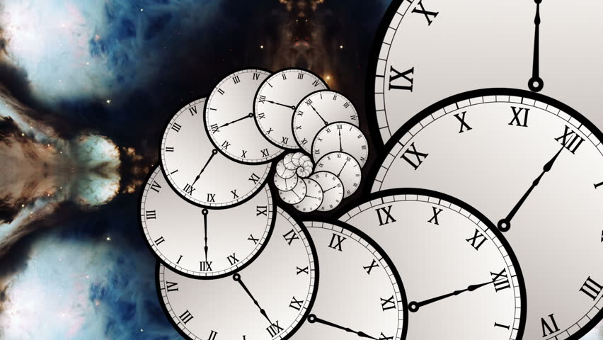 Multiple Timelines Infinite Number of Clocks in Spiral Formation Infinity Zoom Time Travel Portal Wormhole Vortex Space Alternate Dimension Interdimensional