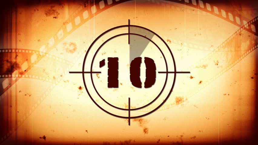 Countdown with vintage film reel