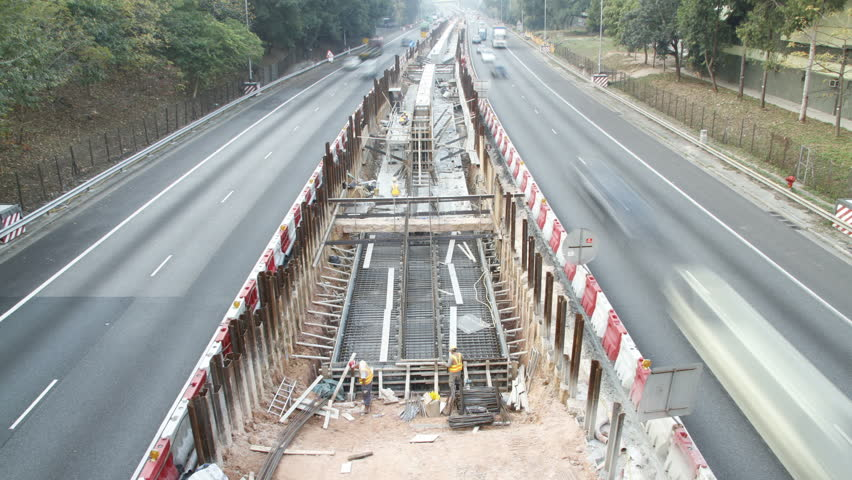 Time lapse of road construction projects in Hong Kong